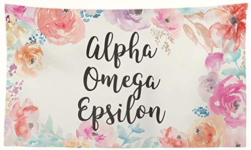 (Pro-Graphx Alpha Omega Epsilon Greek Sorority Flag Display Banner Sign Décor - 3' x 5' - New Floral)