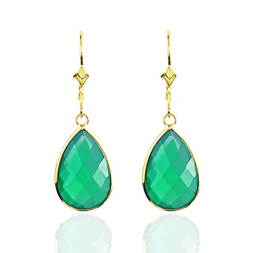 14K Yellow Gold Handmade Earrings With Dangling Pear Shape Green Onyx by amazinite