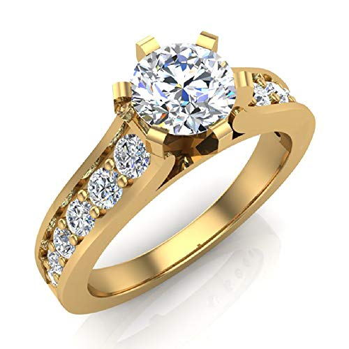 (1.00 ctw Riviera Shank Diamond Engagement Ring 18K Yellow Gold (Ring Size 5.5))
