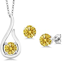 Carlo Bianca Golden Yellow 925 Sterling Silver Pendant Earrings Set Made With Swarovski Zirconia