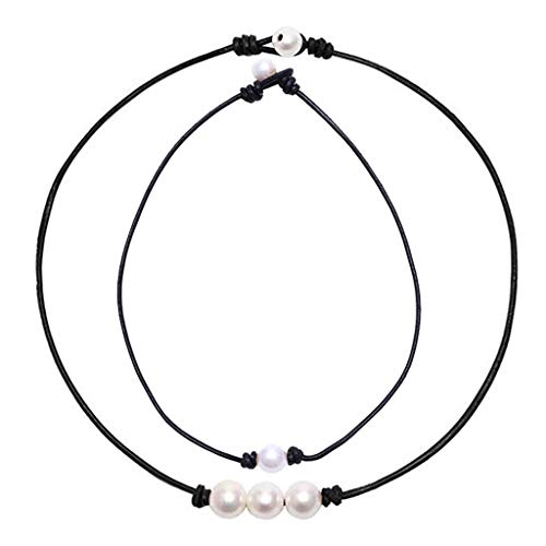 Pearl Necklace Set 2 Pcs,Crytech Minimalist Handmade Single/Three Faux Round Pearl Pendant Choker with Black Leather Cord Stylish Bohemain Pearl Clavicle Chain Necklace for Women Girls (Black)