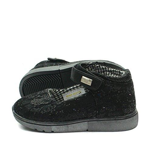 MS003 Miss Sixty Mary Jane Shoe Ankle Strap for Girls in Lace Effect >      > Zapato con cierre de correa del tobillo de las niñas en Efecto del cordón Black (Negro)