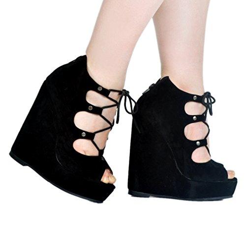 CASSOCK to Toe Black Crosscriss Pumps Shoes Ladies Back Handmade Peep School Wadge Heel rwzxgT0rq