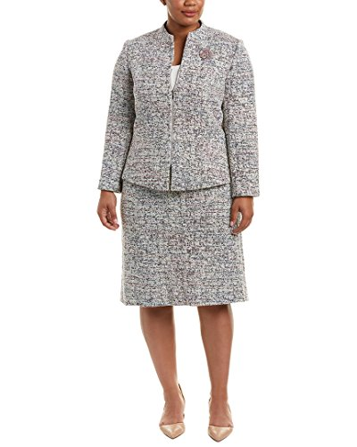 Tahari by Arthur S. Levine Women's Plus Size Tweed Skirt Suit with Long Sleeve Jacket, Ivory/Black, (Tweed Skirt Set)