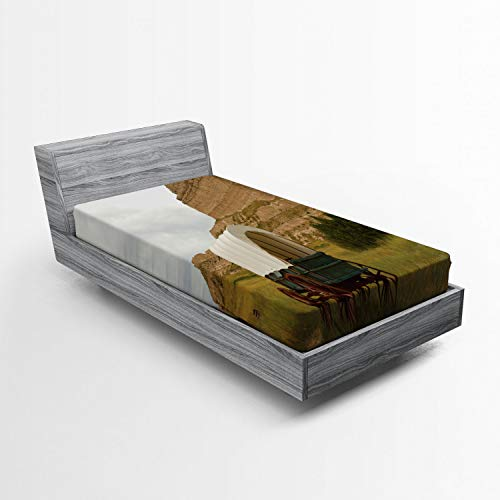 Ambesonne Nebraska Fitted Sheet, Rural Historic Landscape Picture with Vintage Covered Wagon and Rock Formation, Soft Decorative Fabric Bedding All-Round Elastic Pocket, Twin Size, Multicolor