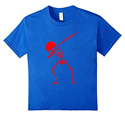 Creepy Dabbing Red Skeleton Funny Halloween Costume T-Shirt