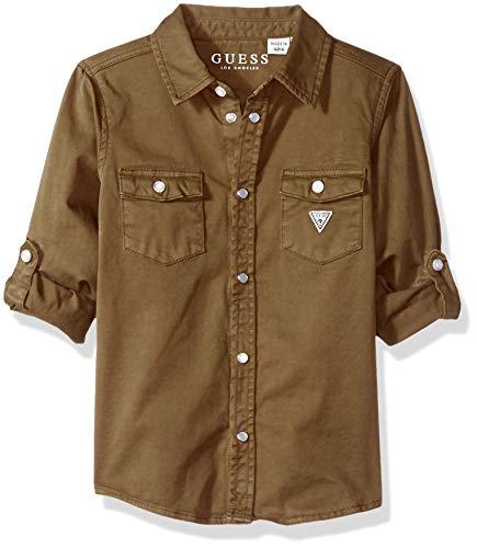 Shirts Khaki Military (Guess Boys' Little Long Sleeve Button Down Graphic Logo Shirt, Military Khaki a, 6X/7)