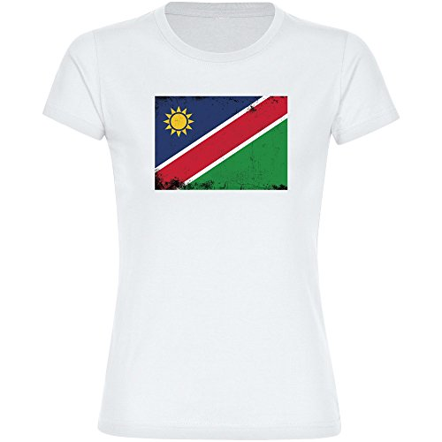 T-Shirt Fahne Retro Namibia weiß Damen Gr. S bis 2XL