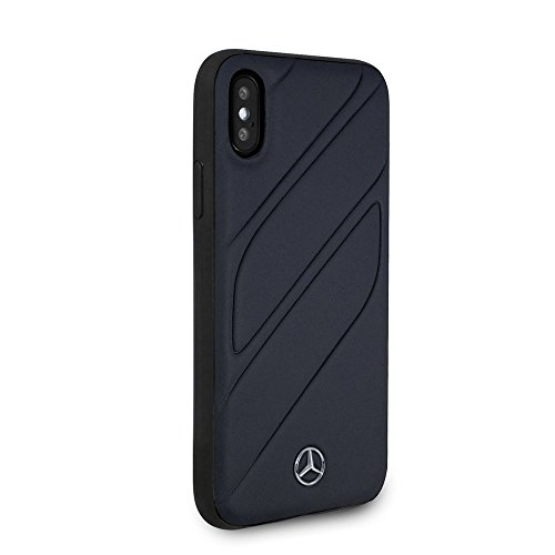Mercedes Benz iPhone X - by CG Mobile - Navy Cell Phone Case Genuine Leather | Easily Accessible Ports | Officially Licensed.