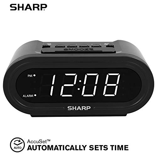 SHARP Digital Alarm with AccuSet - Automatic Smart Clock, Never Needs Setting - Great for Seniors, Kids, and Everyone who Doesn