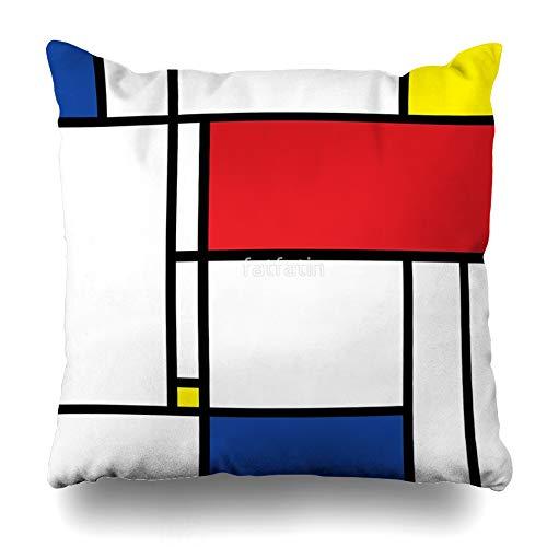 Ahawoso Throw Pillow Cover Square 16x16 Inches Mondrian Minimalist De Stijl Modern Art Decorative Pillow Case Home Decor Pillowcase