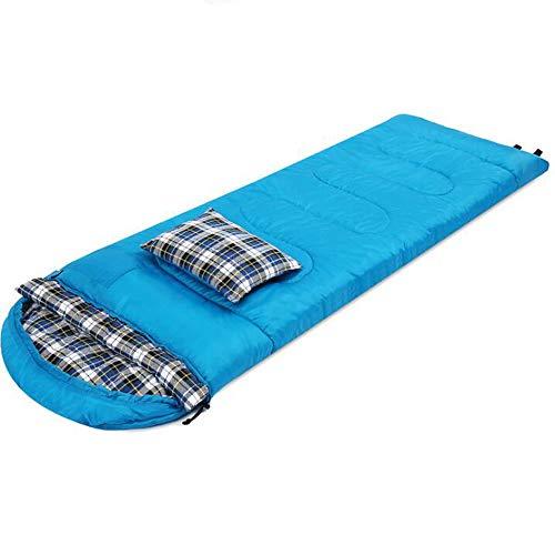 ZY Einzelnen Schlafsack im Freien, kampierender doppelter Paarumschlagschlafsack für kampierender Mittagspausequiltteppich des Erwachsenen mit Kissen genäht Werden,Blau,2KG