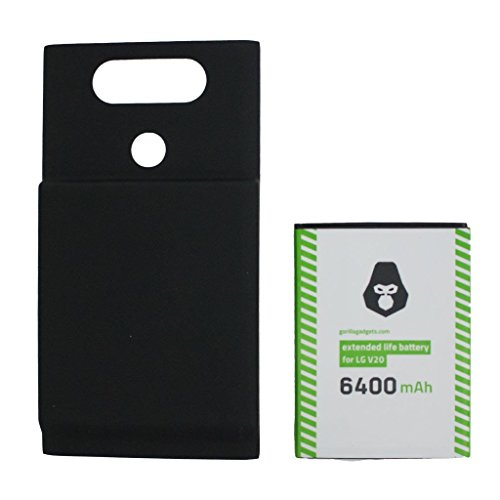 LG V20 Extended Life Battery (6500mAh) Double The Power of a Standard Replacement Battery Fits All LG V20 Versions Warranty and Custom Back Cover Included