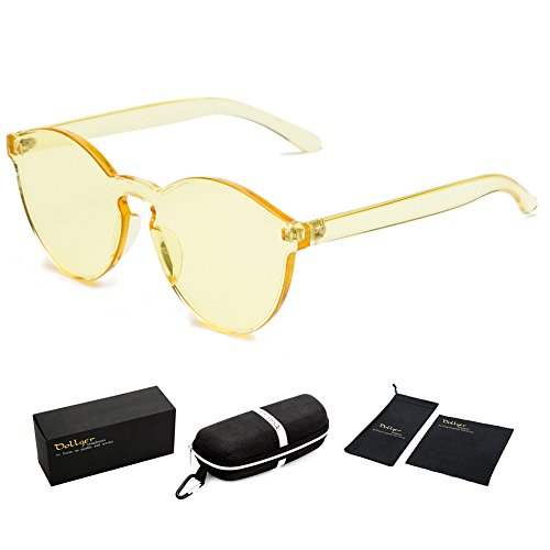 Dollger Yellow Rimless Sunglasses One Piece Colored Lens Sunglasses for - Rimless Monoblock Sunglasses