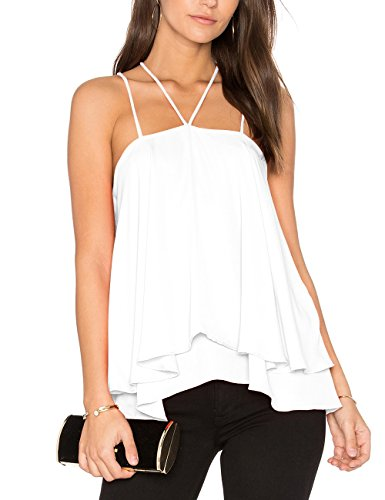 Ally-Magic Women's Sleeveless Tank Tops Double Strap Layered Chiffon Blouse C 4732 (S, White) (Best Outdoor Dating Sites)