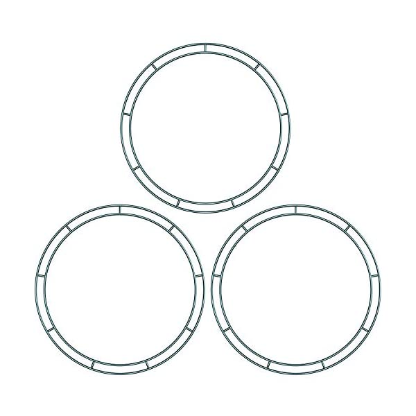 Sumind 3 Packs Dark Green 12 Inches Wire Wreath Rings Wire Wreath Frame for New Year Valentines Decoration (Style B)