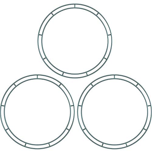 Sumind 3 Packs Dark Green 12 Inches Wire Wreath Rings Wire Wreath Frame for New Year Valentines Decoration (Style B) -