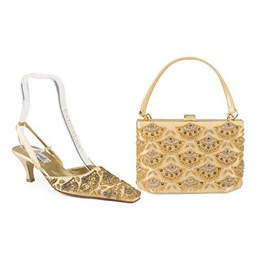 Farfalla lujo zapatos a juego y bolsa dorado