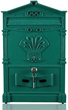 メールボックス セキュア文書ボックスハイハンギングOfficeのドロップコメントレター預金、ウォールはロックがメールボックスをマウント亜鉛メッキ 家庭用またはビジネス用 (Color : Green, Size : 25x7.5x41cm)