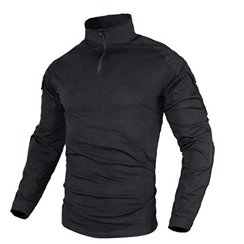 zuo xiang ru Men Tactical Combat Airsoft Military Shirt (Black, US S=Asian Tag L) ()