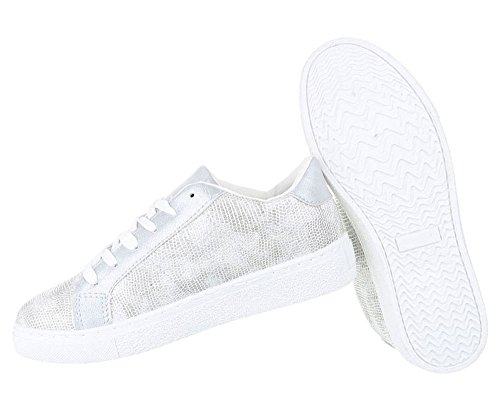 Damen Laufschuhe | Kroko Style Schuhe | Sneaker Low Runners | Hallenschuhe Weiße Sohle | Plateau Sportschuhe | Schnürer Sportschuhe | Freizeitschuhe | Schuhcity24 Silber