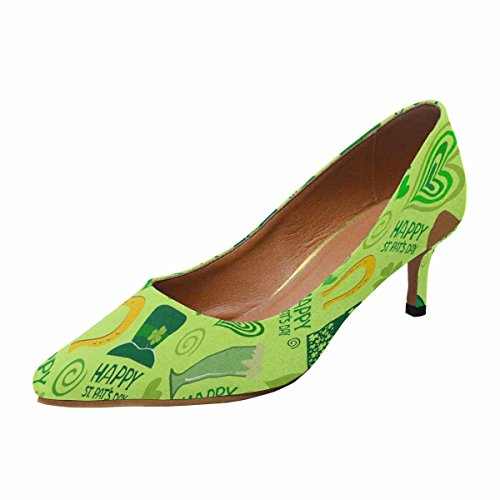 InterestPrint Womens Low Kitten Heel Pointed Toe Dress Pump Shoes ST.Patricks Day Background Multi 1