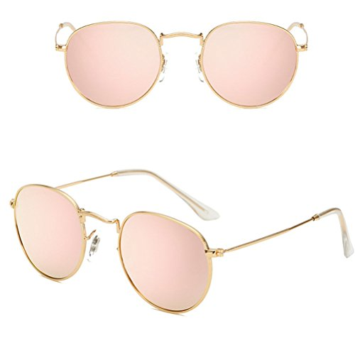 Sunglasses Diseño with Metal sol Round Gafas Classic amp;Pink Gold UV400 de Zhhlaixing Case Mujer Oversized Retro Storage zfBFxqnw