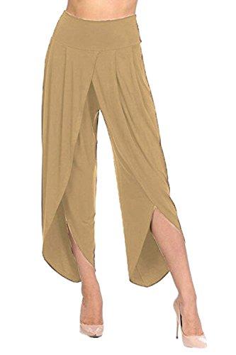 Femme Filles Libre Unicolor Palazzo Temps Pantalon Élégant Confortable Irrégulier Taille Haute Mode Aéré Saoye Vêtements Violet Large Été Culotte ROExF