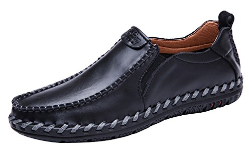 Agowoo Mens Tidvattnet Halka På Dagdrivare Tillfällig Snörning Läderskor Black_slip På