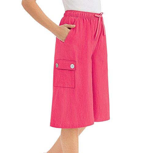 Women's Crinkle Cotton Gauze Clothing Cargo Pocket Elastic Waist Split Skirt, Coral, X-Large