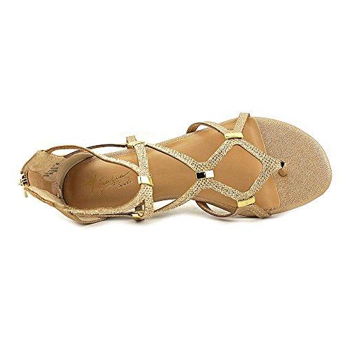 Thalia Sodi Pamella Stoff Gladiator Sandale Gold Metallic