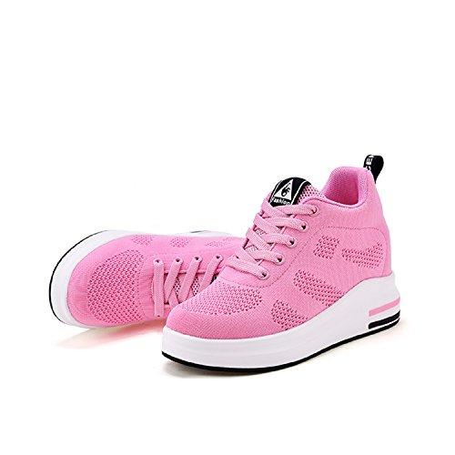 Fitness Scarpe Basse Ginnastica Donna Rosa Zeppa 8cm Aonegold® Sportive Sneakers Da Interna Con znTwdaxq0a
