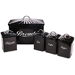 Hot Sale X649 Metal Home Kitchen Gifts Bread Bin/Box/Container Biscuit Tea Coffee Sugar Tin Canister Set (Black)