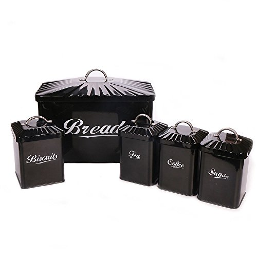 Hot Sale X649 Metal Home Kitchen Gifts Bread Bin/Box/Container Biscuit Tea Coffee Sugar Tin Canister Set (Black) - Canister Box