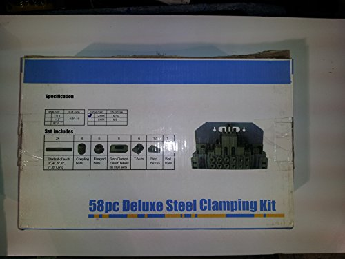 Cheap 58 Pcs Deluxe Steel Clamping Kits 5/8 T-slots , 1/2″ Bolt Size , 24 Studs, 6 Step Block Pairs, 6 T-nuts,6 Flange Nuts,Step Blocks,Step Clamps and Mounting Rack
