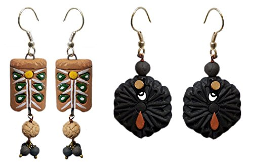 DollsofIndia 2 Pairs of Terracotta Dangle Earrings - Length - 1.75 and 1.5 inches (RW17)