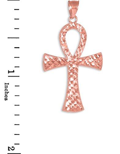 10K Or Rose égyptien Ankh Croix Charme pendentif