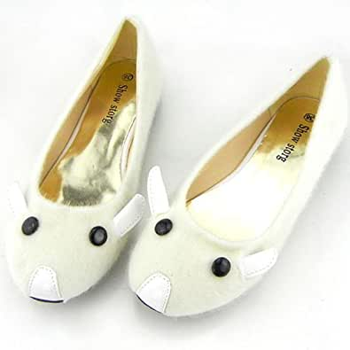Show Story Adorable Design Off-White Pet Mouse Fluff Comfortable Ballet Flat Shoes,SM00655BG34,3US,Off-White