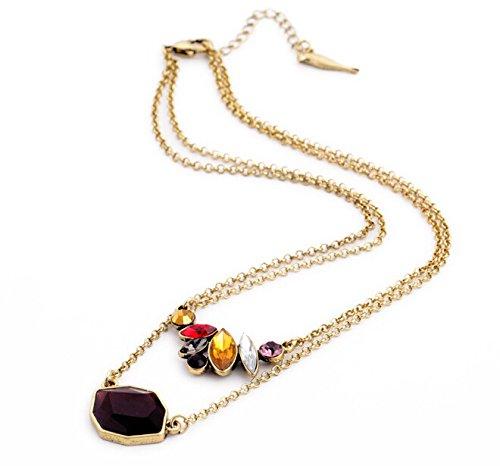 Collier doré double cristaux et pierres ambrées