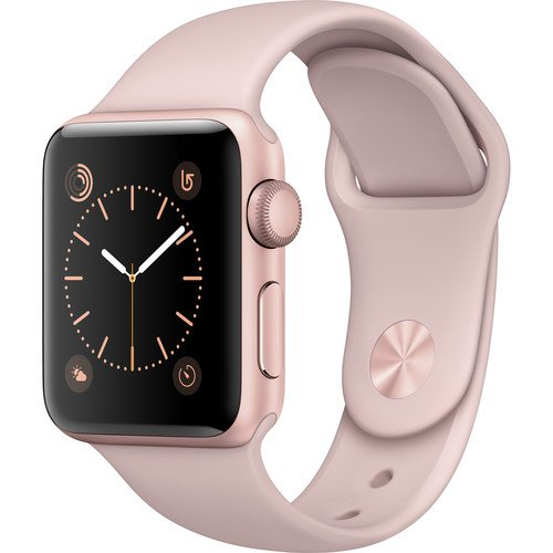 Apple Watch Series 2 Smartwatch 38mm Rose Gold Aluminum Case, Pink Sand Sport Band (Renewed) by Apple