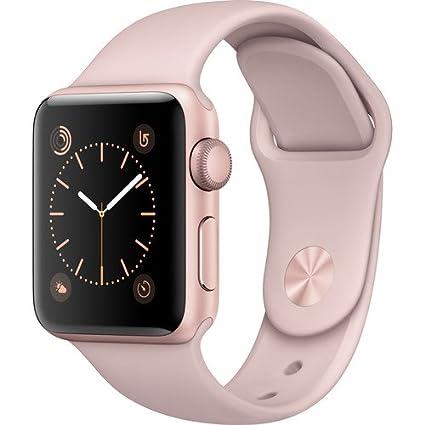 comprar baratas 80287 fab25 Apple Watch Series 2 Smartwatch 38mm Rose Gold Aluminum Case, Pink Sand  Sport Band (Renewed)