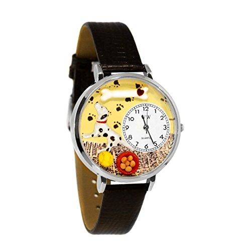 Whimsical Watches Unisex U0130031 Dalmatian Black Skin Leather Watch (Puppy Watch Dog Charm)