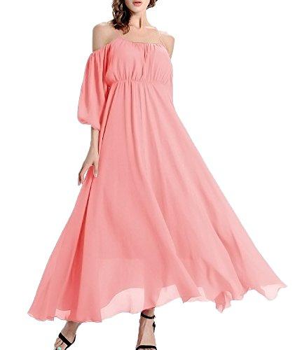 (Afibi Women's Off-Shoulder Long Chiffon Casual Dress Maxi Evening Dress (Large, Pink))