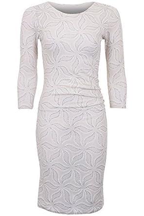 Ladies 3/4 Sleeve Floral Leaf Sparkle Glitter Lurex Bodycon Ruched Midi Dress [Cream
