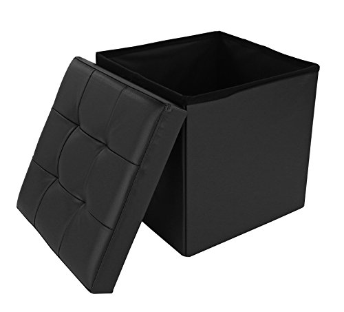 Dualplex Foldable Tufted Storage Ottoman Cube 15 X 15, Comfortable Seat – Ideal For Foot Rest, Stool Chair, Small Folding Coffee Table, Decorative Faux Leather Accessory (Black)