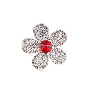 DEPOT TRESOR perno en forma de flor y cristales de Swarovski, diseño de aro, Screw, color rojo rubí