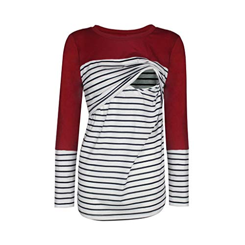 Gallity Women's Motherhood Maternity Striped Tops Clothes Button Side Ruching Pregnancy T-Shirt (M, Wine)