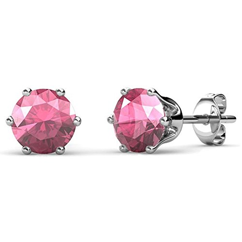 Opal Tourmaline Earrings - Cate & Chloe October Birthstone Stud Earrings, 18k White Gold Plated Earrings with 1ct Gemstone Swarovski Pink Tourmaline Crystals, October Birthstone Jewelry for Women