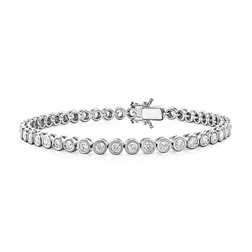 (Bridal 10CT Simple Cubic Zirconia Bezel Round Solitaire AAA CZ Tennis Bracelet For Women For Prom 925 Sterling Silver)