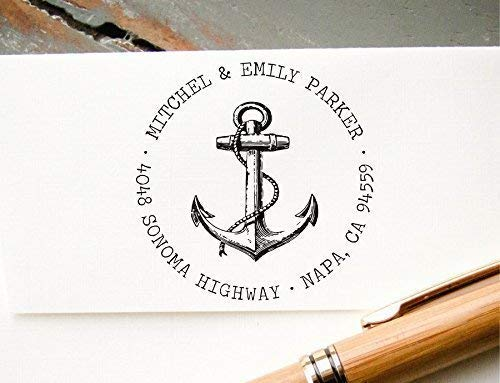 Self-Inking Return Address Stamp, Pre-Inked Custom Rubber Stamp, Anchor Graphic Wedding Invitation Stamp, Save the Date Stamp ()